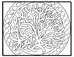 fan coral on simple mandala background coloring page mermaid