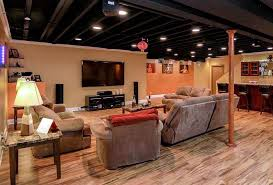 Pictures Of Finished Basement by Exposed Basement Ceiling Ideas Darker Jeffsbakery Basement