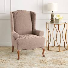damask chair sure fit stretch jacquard damask wing chair slipcover walmart