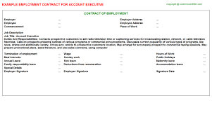 Sample Resume Format For Accounts Executive by Account Executive Employment Contract