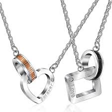 couple necklace images Designer sweet stainless steel heart and square shape forever love jpg