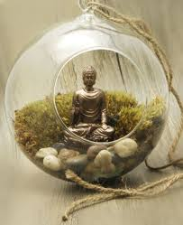 buddha and lotus suspended globe terrarium