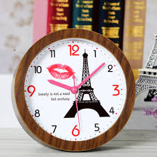 fashionable creative retro style eiffel tower table clock red lip