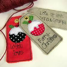 christmas pudding personalised tags fabric gifts christmas