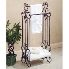 bathroom black carved iron bathroom towel holder stand placed on