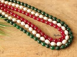 gemstone necklace sets images Beaded pearl designer gemstone necklace earrings set at 4550 jpg