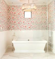 Adhesive Wallpaper by Self Adhesive Wallpaper With Beige Porcelain Tiles Bathroom