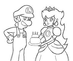 princess peach give luigi birthday cake coloring pages download