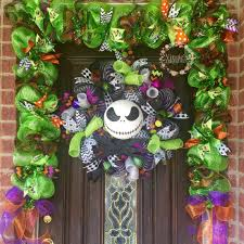 jack skellington wreath with garland nightmare before christmas