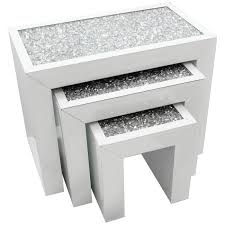 white nest of tables of 3 crushed diamonds crystals white glass nesting tables