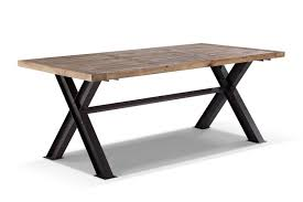D Coratif Table A Manger Fantaisie Table Bois Et Metal Meuble Industrielle Blanchi Allonges