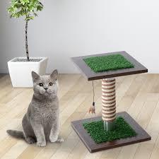 aosom pawhut 15 u201d artificial grass cat scratching post activity