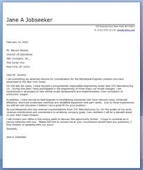 ideas collection sample cover letter mechanical engineering job