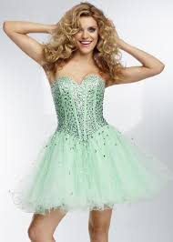 mint strapless colored stones ruffled corset back party dress