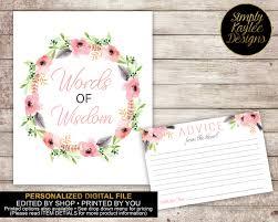 bridal shower words of wisdom boho bridal shower words of wisdom sign and advice cards by