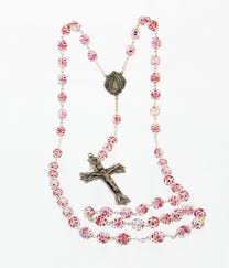 pink rosary pink 8mm capped rosary in sterling silver