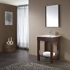 Bathroom Counter Shelf Square Brown Polished Open Shelf Vanity With White Sink On