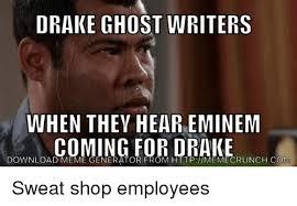 Drake Meme Generator - drake ghost writers when they hear eminem coming for drake