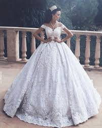 luxury lace appliques ball gown wedding dresses fall saudi arabic