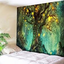 American Flag Tapestry Wall Hanging Green W79 Inch L59 Inch Life Tree Pattern Wall Hanging Tapestry