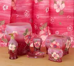 Pink Bathroom Accessories Sets by Fantasy Pink Bathroom Accessories Set W Shower Curtain