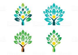 tree logo wellness symbol icon set vector design
