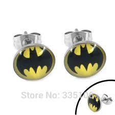 batman earrings free shipping enamel batman earring piercing stainless steel