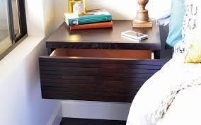 modern natural wood wall floating shelf nighstand drawer desain