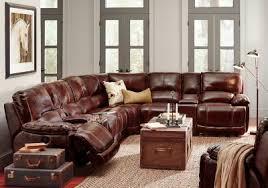 Burgundy Leather Sofa Cindy Crawford Home Van Buren Burgundy 8 Pc Leather Sectional