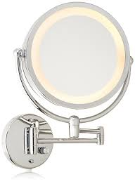 wall mounted hardwired lighted makeup mirror danielle revolving wall mounted lighted mirror chrome 10x amazon