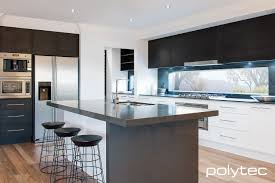 doors in createc alabaster overhead cupboards in ravine black