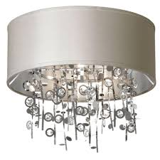 Flush Mount Ceiling Light Shade Dainolite Picabo 4 Light Polished Chrome Crystal Semi Flush Mount