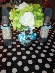 bow ties and bottles themed baby shower centerpieces mason jars