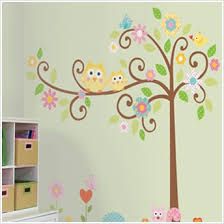 Removable Nursery Wall Decals Owls On A Tree Wall Decals For Rooms Owl Themed Nursery