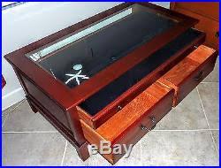 Bob Timberlake Lexington Cherry Wood Beveled Glass Display Coffee Table