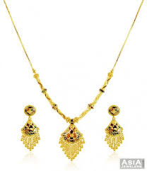 beautiful gold necklace set images Beautiful gold meenakari set ajns58645 22k gold necklace set jpg