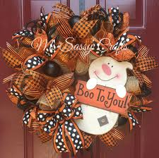 Etsy Halloween Wreath by Halloween Burlap And Deco Mesh Ghost Wreath Byb Mssassycrafts On