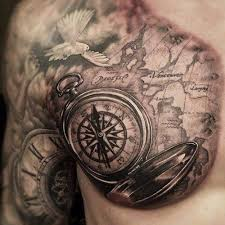 tattoo compass realistic realistic compass tattoo on chest for men