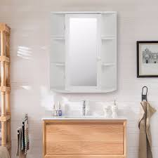 Bathroom Cabinet Organizer Goplus Wooden Bathroom Cabinet With Mirror White Storage Wall