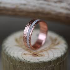 men u0027s wedding band 10k gold u0026 elk antler ring w hammered finish