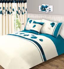 teal blue velvet rose floral amelia super king size bed duvet
