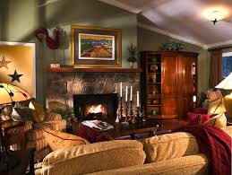 stone fireplace and rectangle dark brown wooden table on the rug