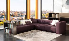 Burgundy Living Room Furniture by Modern Burgundy Leather Sectional W Book Case