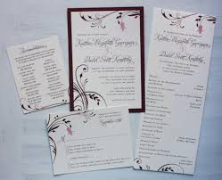 Wedding Invite Card Stock Burgundy U0026 Pink Floral Vine Wedding Invitations And Programs