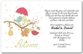 couples wedding shower invitation wording autumn birds invitations bridal shower invitations