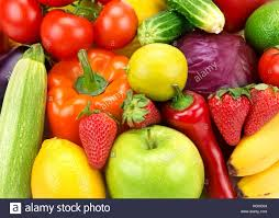 bright background of different fruits and vegetables stock photo