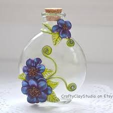 Polymer Clay Vases Decorated Bottle Embellished Bottle From Craftyclaystudio On