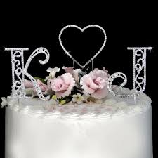 cake topper letters swarovski initials heart wedding cake topper set