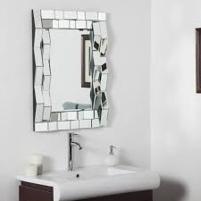 Bathroom Frameless Mirrors Bathroom Fixture Gray Rectangle Shelf Glass Tropical Frameless