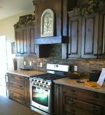 dry stack slate backsplash kitchen contemporary with island milk